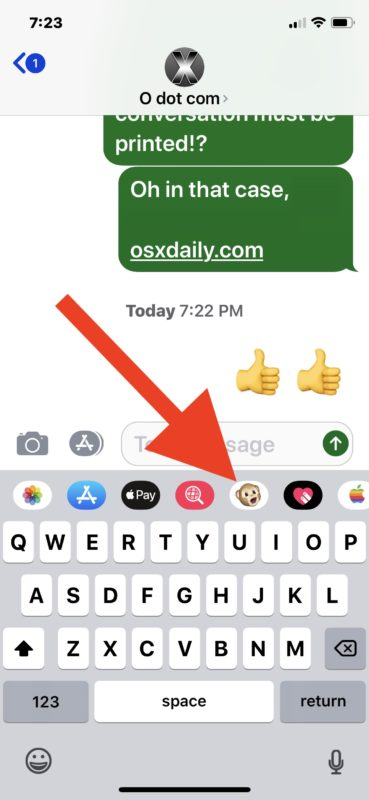 Open the Animoji messages app