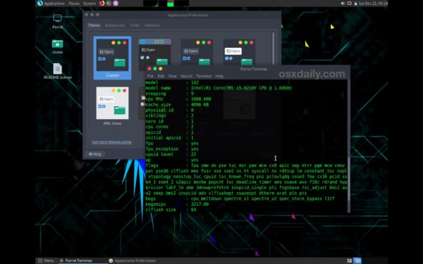 ParrotSec Linux running on Mac in live mode