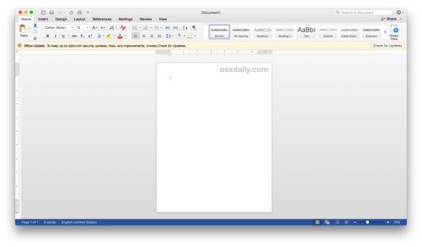 Microsoft Office and Word apps using default Mac visual appearance theme