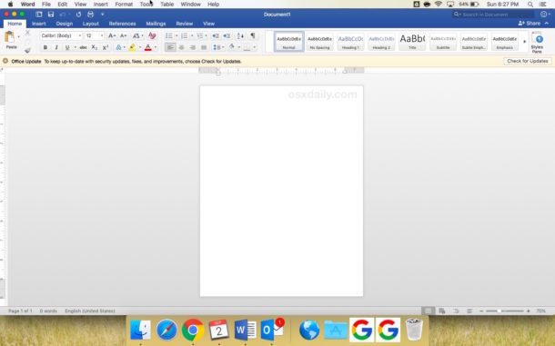 Default Colorful theme in Mac Microsoft Word and Office