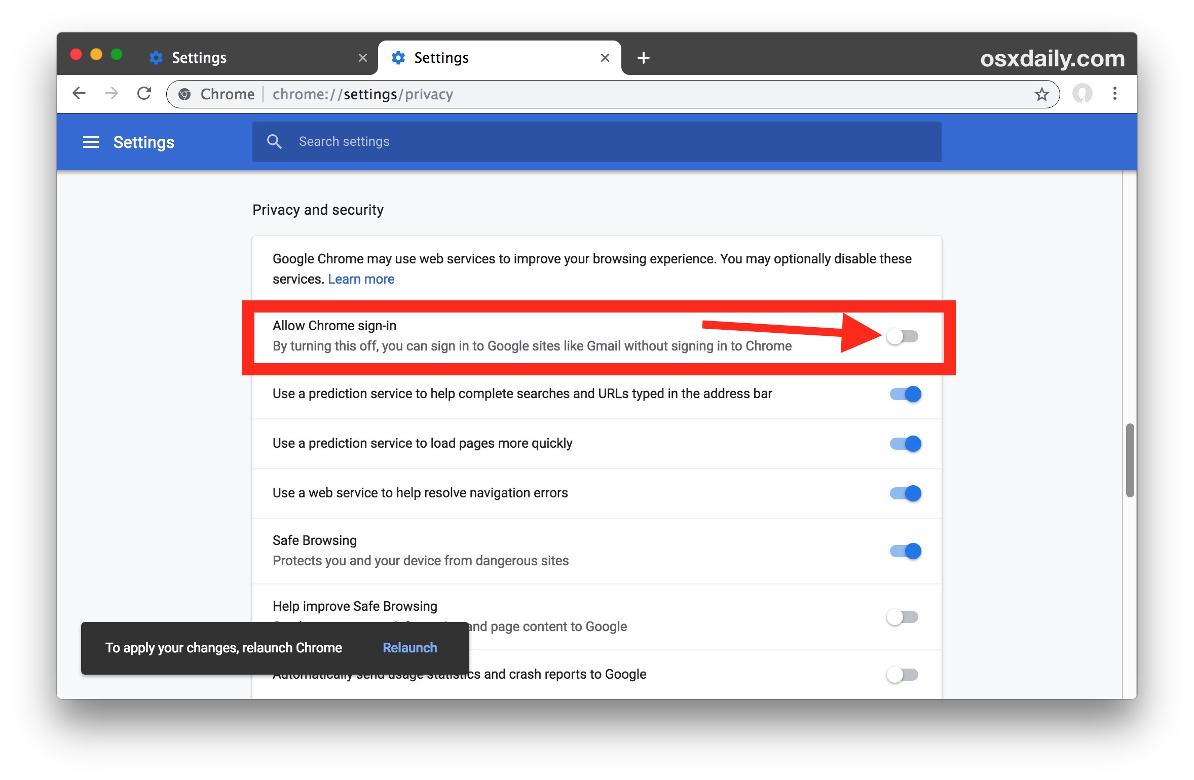 How to disable Chrome sign-in to Google