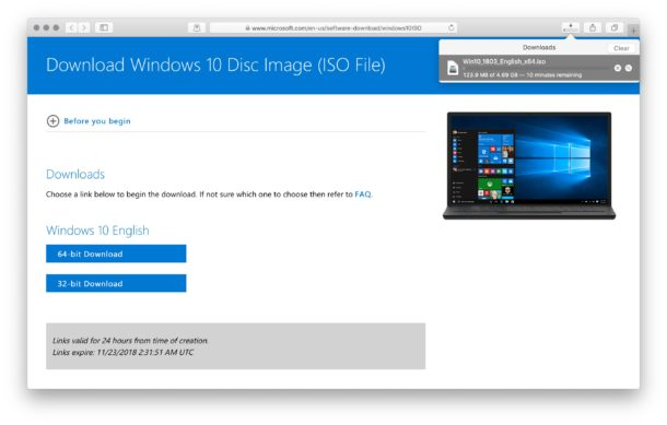 Download Windows 10 ISO on Mac