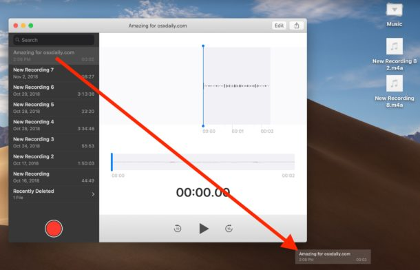 How to save Voice Memos as audio files on Mac with drag and drop