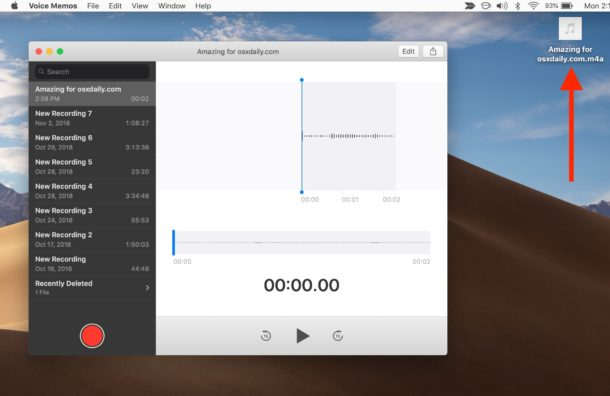 Voice Memos file saved as audio file on Mac