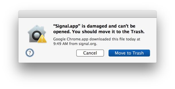 App is damaged and cant be opened, move to Trash error message on the Mac