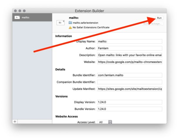 How to bypass Safari unsafe extension error warning message dialog on Mac