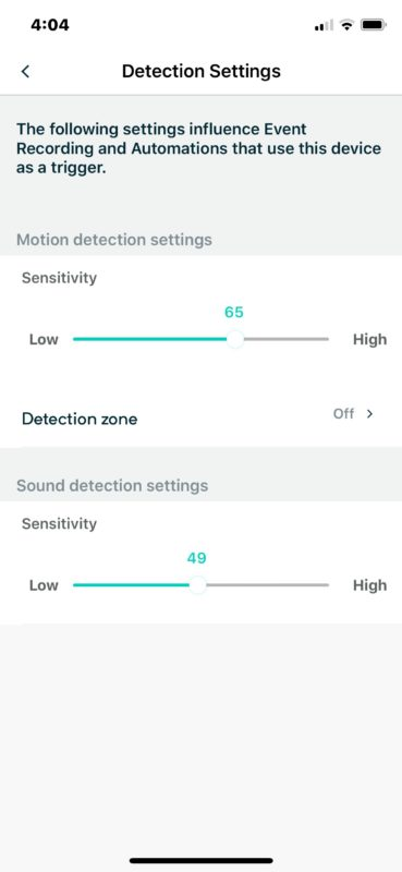 Configure Wyzecam detection settings