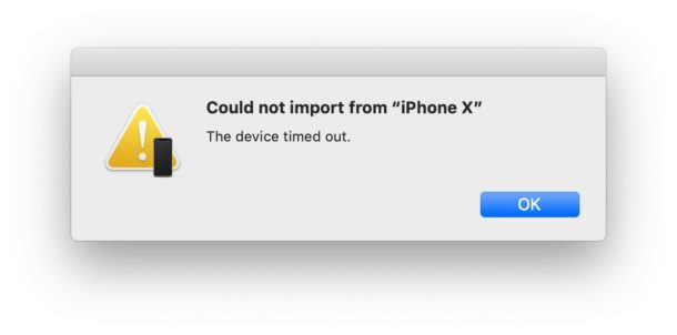 Continuity Camera could not import from iPhone or iPad device timed out error