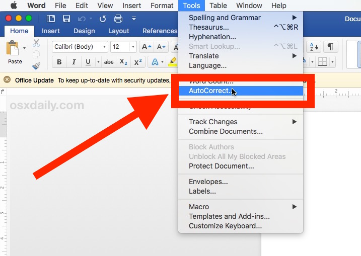 How to disable autocorrection in Microsoft Word for Mac