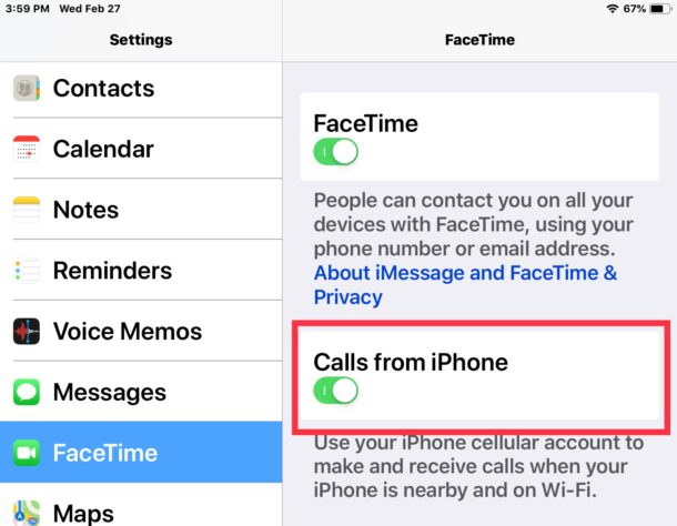 How to enable calls from iPhone on iPad