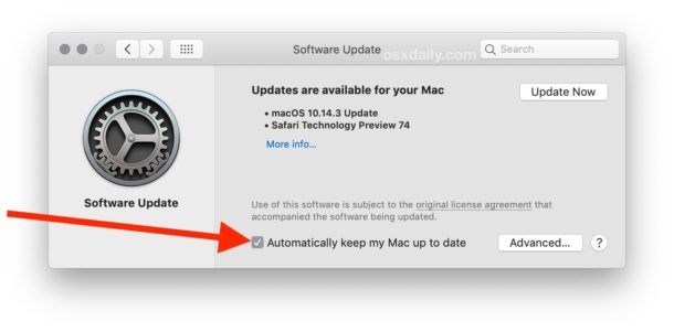 How to enable automatic MacOS updates