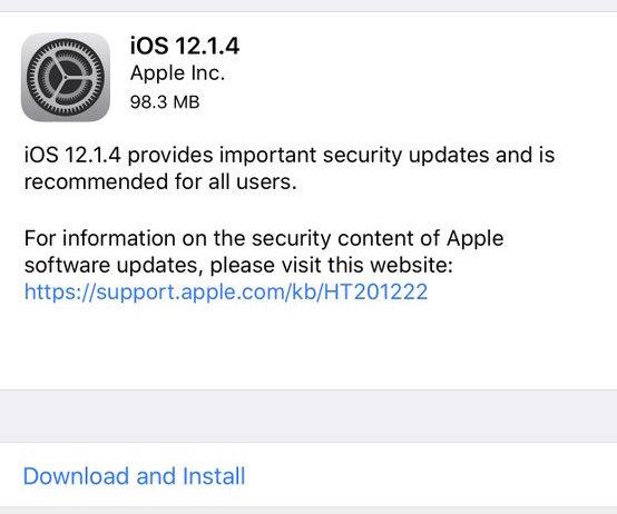 iOS 12.1.4 update