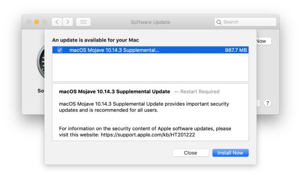 MacOS Mojave 10.14.3 Supplemental Update available to download