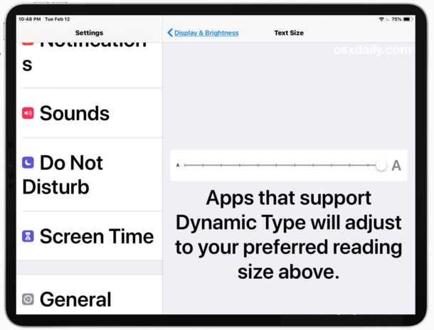 How to make text size larger on iPad