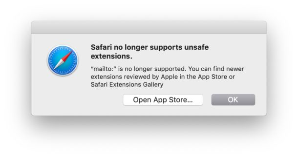 Safari no longer supports unsafe extensions error message Mac
