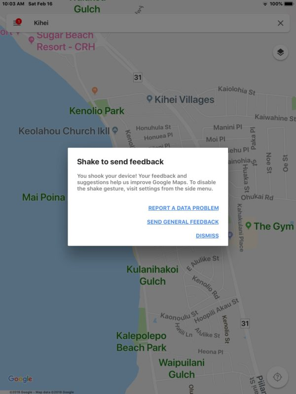 Shake to Send Feedback in Google Maps for iOS