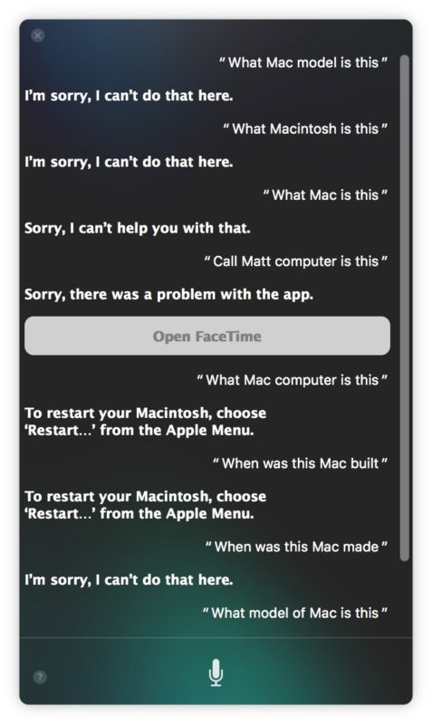 Hey Siri working on Mac saying sorry
