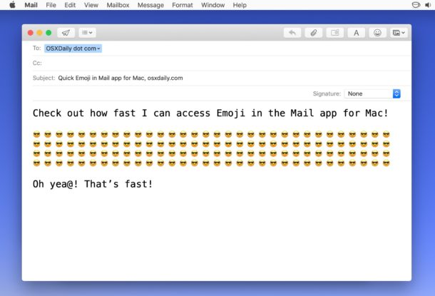 Adding Emoji to email on Mac