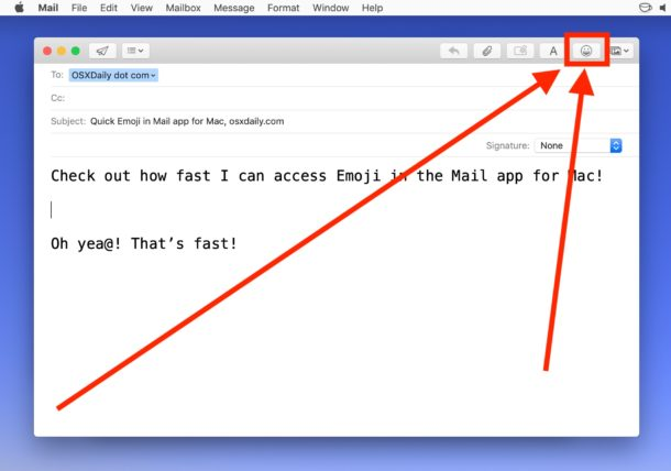 How to add Emoji on Mail for Mac with the Emoji button