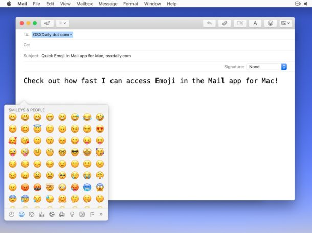 Adding Emoji from the Emoji button on Mail for Mac