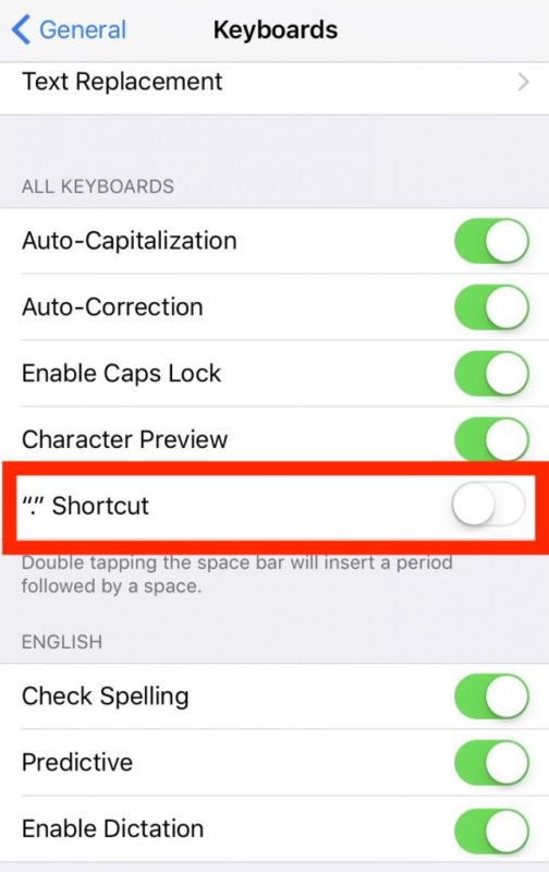 How to disable period shortcut on iPhone or iPad to stop automatically typing periods