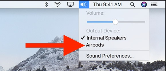 Connect AirPods to Mac the easy way from Sound menu