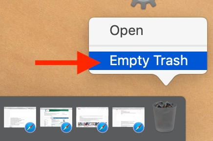 Empty the Trash to delete the virtual machine from the Mac