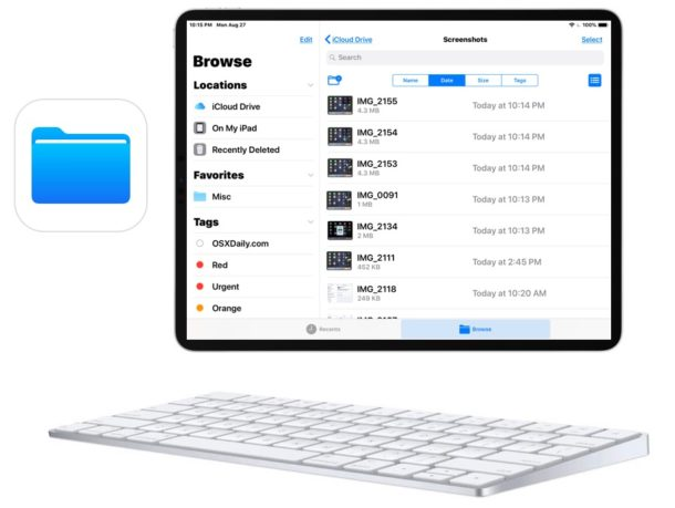 Files app keyboard shortcuts for iPad