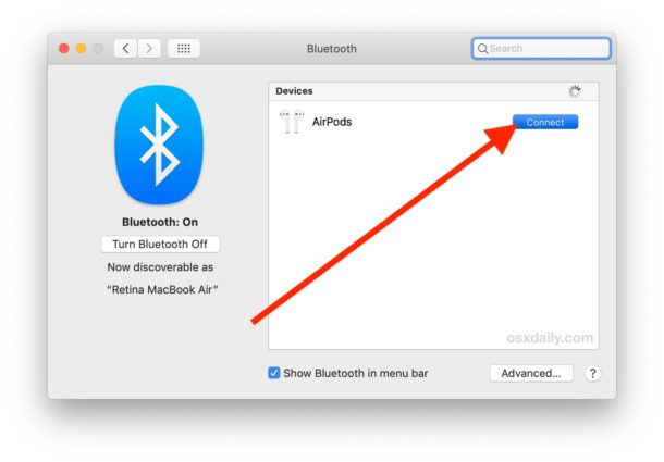 Connect AirPods to Mac with Bluetooth