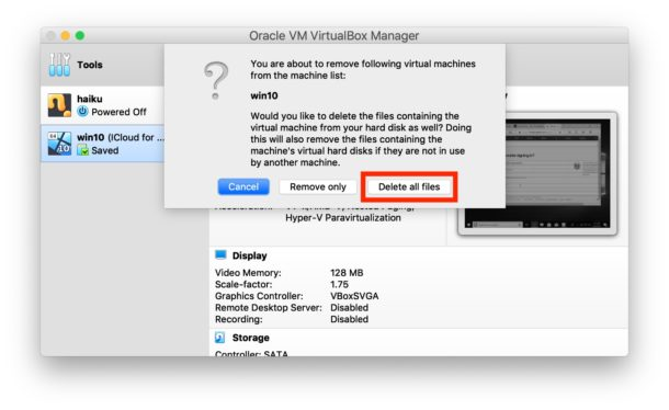 How to delete a virtual machine from VirtualBox