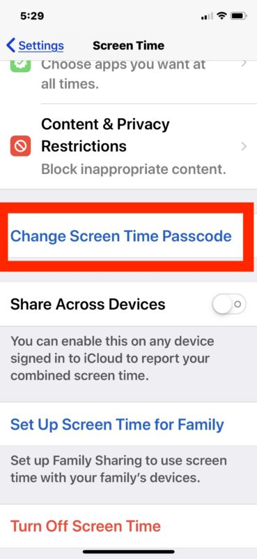 How to turn off password for screen time in iOS