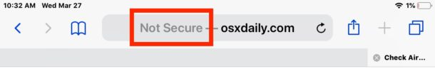 Not Secure Safari message
