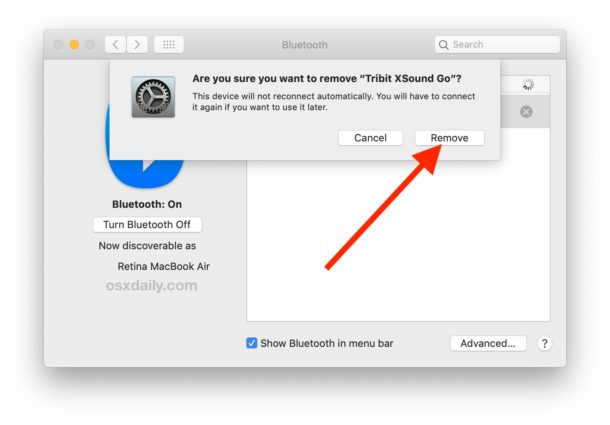 How to remove a Bluetooth device from a Mac