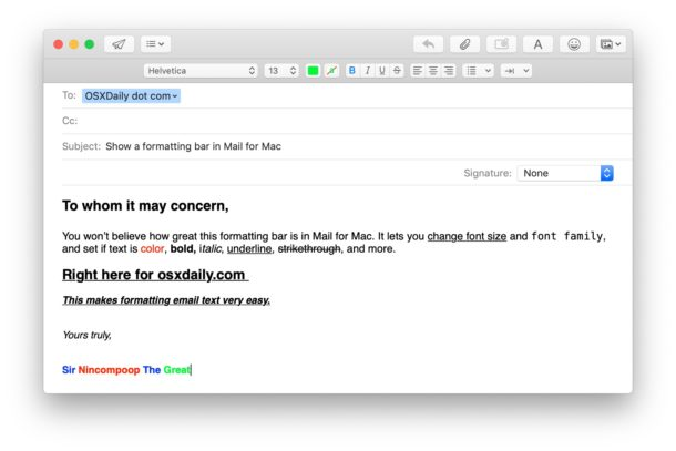 Using the email formatting options on Mail for Mac
