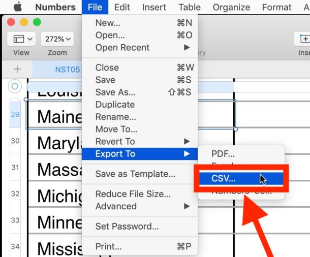 How to convert a Numbers spreadsheet to CSV on Mac