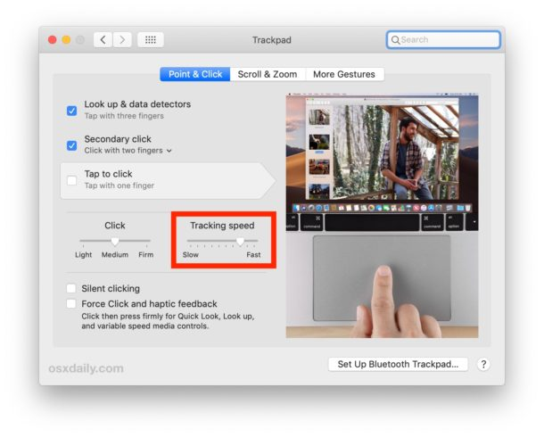 How to change the Trackpad tracking speed on Mac