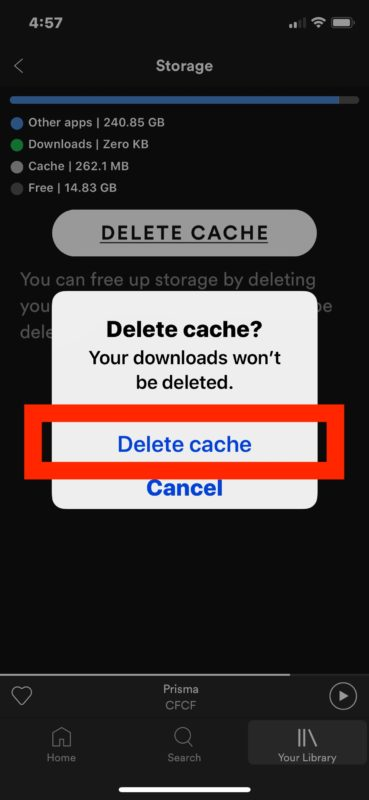 How to delete cache from Spotify on iPhone or iPad