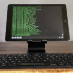 iPad desk setup with stand and keyboard