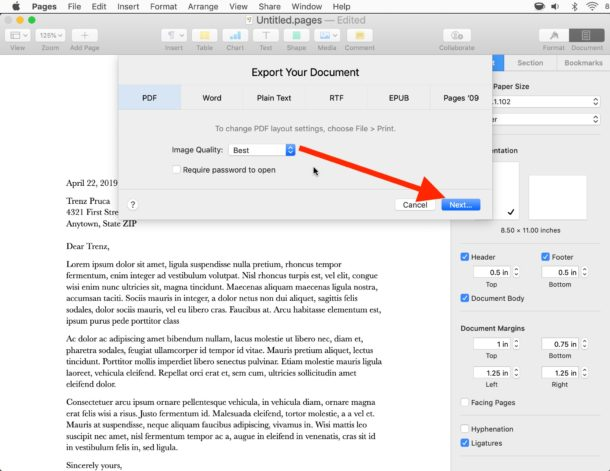 How to save a Pages file to PDF on Mac