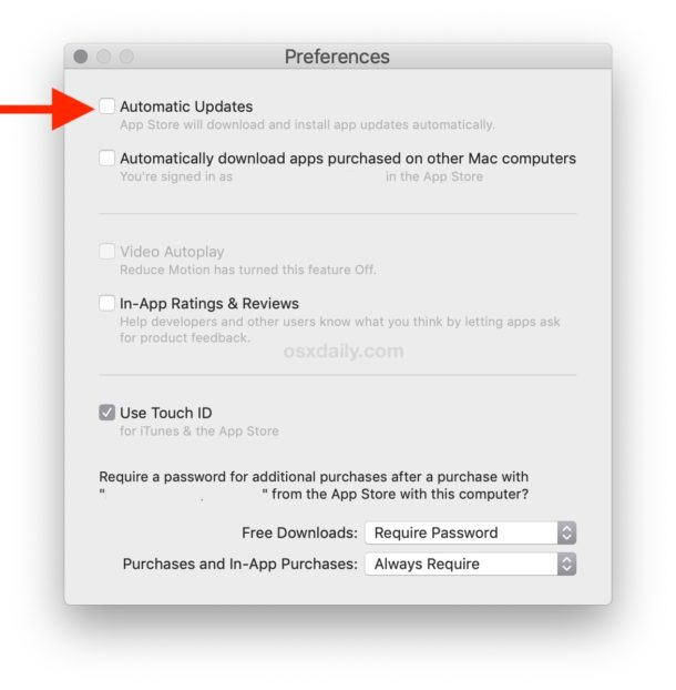 How to disable Automatic Updates for Mac App Store apps