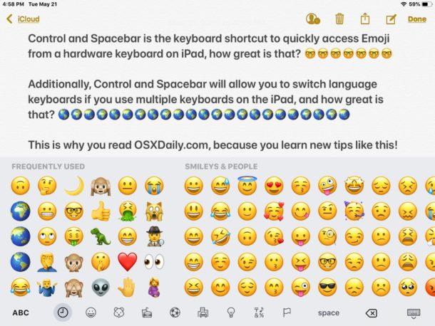 Emoji keyboard shortcut on iPad