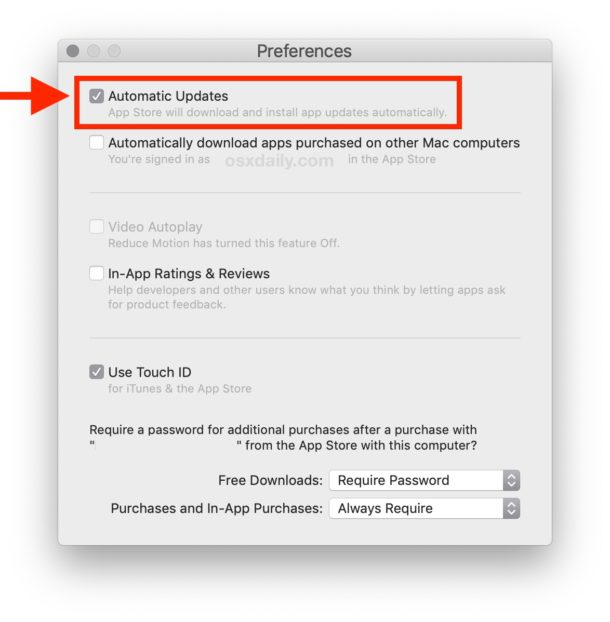 How to enable Automatic Updates for Mac App Store apps