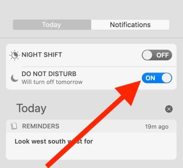 How to enable Do Not Disturb Mode from Notification Center on Mac