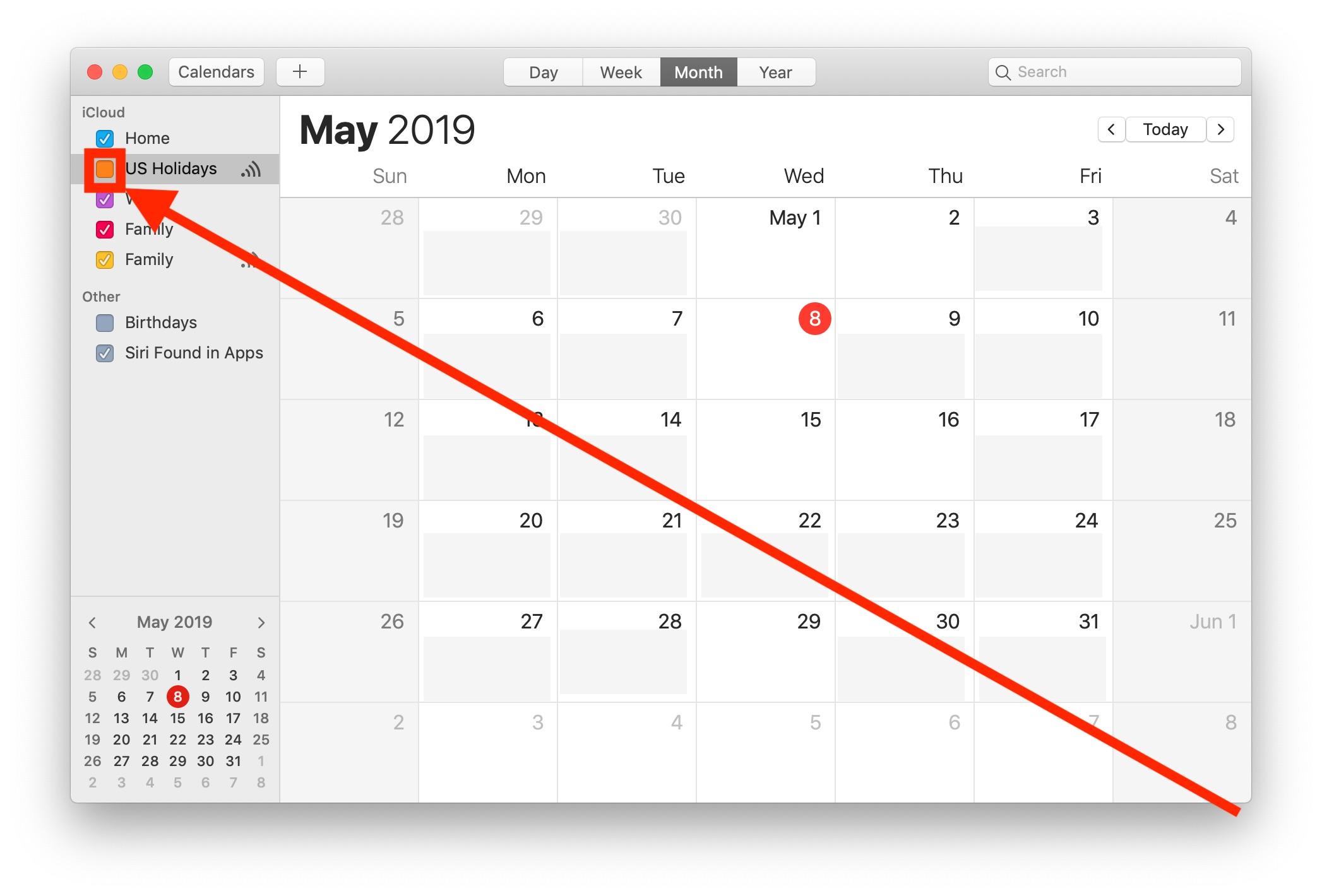 Hide the Holidays Calendar on Mac