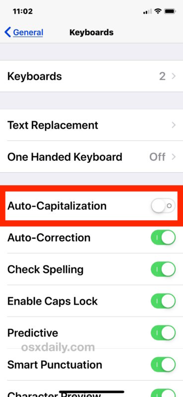 How to turn off auto capitalization of words in iOS