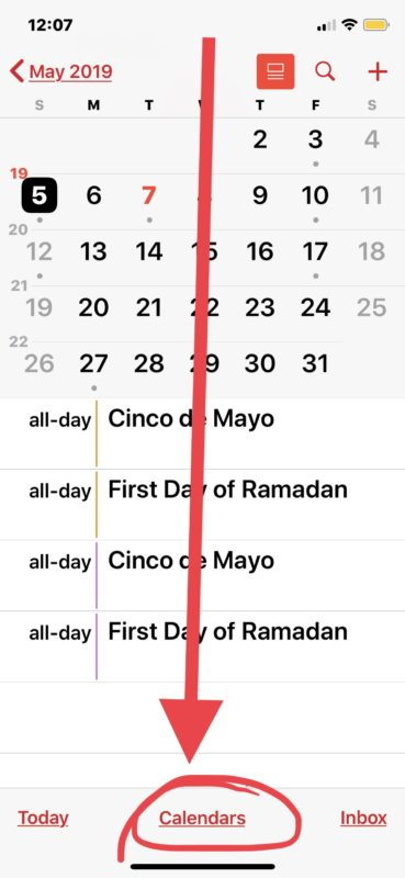 How to remove Holiday Calendar from iPhone or iPad