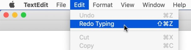 How to Redo on Mac by using Edit menu