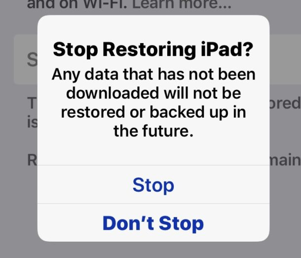 How to stop iCloud Restore from backup to iPhone or iPad
