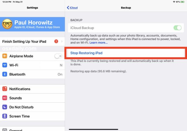 How to stop iCloud Restore from backup on iPhone or iPad