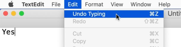 How to Undo on Mac by Edit menu